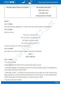 Bộ 5 đề thi học sinh giỏi môn Ngữ văn 7 năm 2021 Trường THCS Lương Văn Chánh
