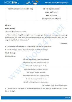 Bộ 5 đề thi học sinh giỏi môn Ngữ văn 7 năm 2021 Trường THCS Nguyễn Hữu Thọ