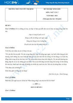 Bộ 5 đề thi học sinh giỏi môn Ngữ văn 7 năm 2021 Trường THCS Nguyễn Thị Định
