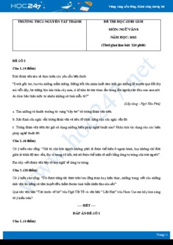 Bộ 5 đề thi học sinh giỏi môn Ngữ văn 8 năm 2021 Trường THCS Nguyễn Tất Thành