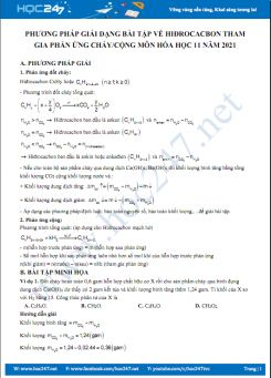 Phương pháp giải dạng bài tập về hiđrocacbon tham gia phản ứng cháy, cộng môn Hóa học 11 năm 2021