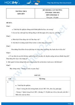 Bộ 5 Đề thi HSG môn Sinh Học 8 năm 2021 Trường THCS Kim Liên có đáp án