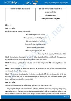 Bộ 3 đề thi tuyển sinh vào lớp 10 năm 2021 môn Ngữ Văn - Trường THCS Hưng Bình