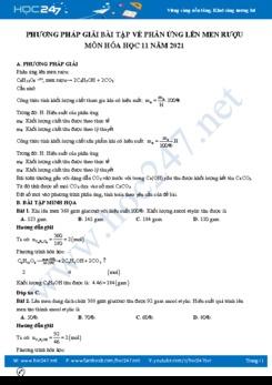 Phương pháp giải bài tập về phản ứng lên men rượu môn Hóa học 11 năm 2021
