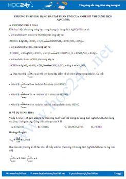 Phương pháp giải dạng bài tập phản ứng của anđehit với dung dịch AgNO3 trong NH3