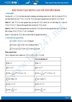 Bài tập vận dụng cao về nguyên hàm