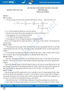 Bộ 5 đề thi thử vào lớp 10 môn Hóa học năm 2021 có đáp án Trường THPT Bảo Lộc