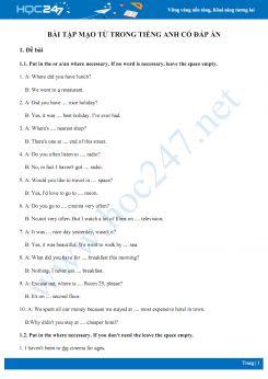 Bài tập mạo từ trong Tiếng Anh có đáp án