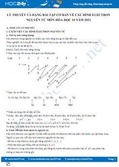 Lý thuyết và dạng bài tập cơ bản về cấu hình electron nguyên tử môn Hóa học 10 năm 2021