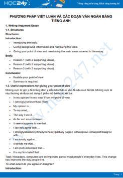 Phương pháp viết luận và các đoạn văn ngắn bằng Tiếng Anh