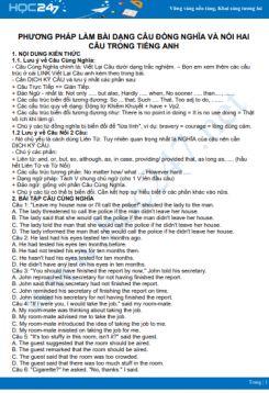 Phương pháp làm bài dạng câu đồng nghĩa và nối hai câu trong Tiếng Anh