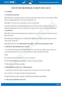 Chuyên đề mệnh đề quan hệ ôn thi vào 10