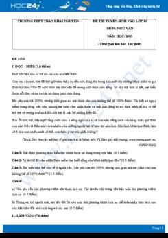 Bộ 4 đề thi tuyển sinh vào lớp 10 năm 2021 môn Ngữ Văn - Trường THPT Trần Khai Nguyên