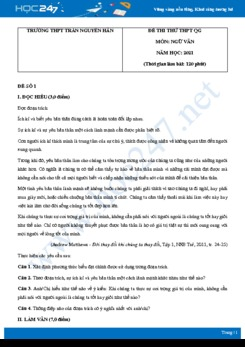 Bộ 3 đề thi thử THPT QG môn Ngữ văn năm 2021 trường THPT Trần Nguyên Hãn