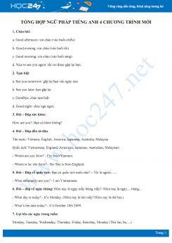 Tổng hợp ngữ pháp Tiếng Anh 4 chương trình mới