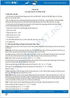 Chuyên đề Các bài Toán về tính tuổi dành cho cấp tiểu học