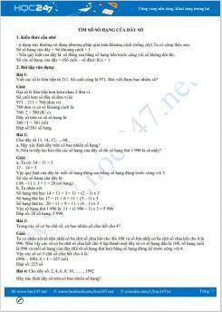 Bài tập về các dạng toán Tìm số số hạng của dãy số