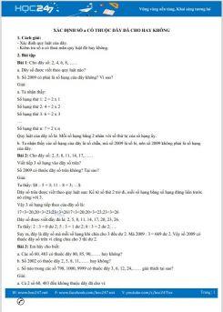Bài tập có hướng dẫn giải của dạng toán Xác định số a có thuộc dãy đã cho hay không