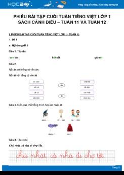 Phiếu bài tập cuối tuần môn Tiếng Việt lớp 1 sách Cánh Diều - Tuần 11 và Tuần 12