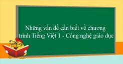 Những vấn đề cần biết về chương trình Tiếng Việt 1