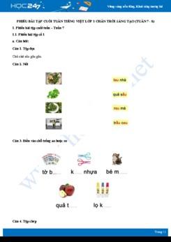 Phiếu bài tập cuối tuần môn Tiếng Việt lớp 1 sách Chân trời sáng tạo - Tuần 7 và tuần 8