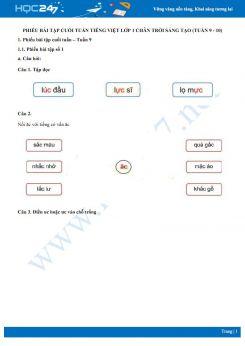 Phiếu bài tập cuối tuần môn Tiếng Việt lớp 1 sách Chân trời sáng tạo - Tuần 9 và tuần 10