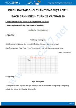 Phiếu bài tập cuối tuần môn Tiếng Việt lớp 1 sách Cánh Diều - Tuần 28 và Tuần 29