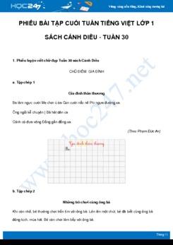 Phiếu bài tập cuối tuần môn Tiếng Việt lớp 1 sách Cánh Diều - Tuần 30