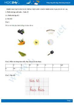 Phiếu bài tập cuối tuần môn Tiếng Việt lớp 1 sách Chân trời sáng tạo - Tuần 15 và tuần 16