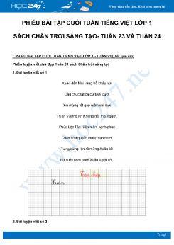 Phiếu bài tập cuối tuần môn Tiếng Việt lớp 1 sách Chân Trời Sáng Tạo - Tuần 23 và Tuần 24