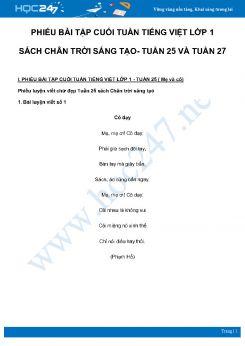 Phiếu bài tập cuối tuần môn Tiếng Việt lớp 1 sách Chân Trời Sáng Tạo - Tuần 25 và Tuần 27