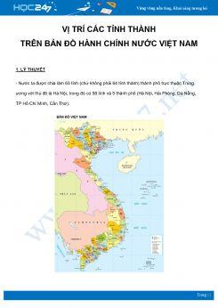 Chuyên đề Vị trí các tỉnh thành trên bản đồ hành chính nước Việt Nam môn Địa Lý 8 năm 2021