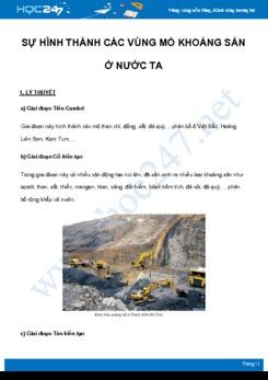 Chuyên đề Sự hình thành các vùng mỏ khoáng sản ở nước ta môn Địa Lý 8 năm 2021