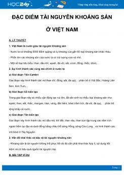 Chuyên đề Đặc điểm tài nguyên khoáng sản ở Việt Nam môn Địa Lý 8 năm 2021