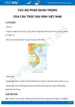 Chuyên đề Các bộ phận quan trọng của cấu trúc địa hình Việt Nam môn Địa Lý 8 năm 2021