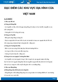 Chuyên đề Đặc điểm các khu vực địa hình của Việt Nam môn Địa Lý 8 năm 2021