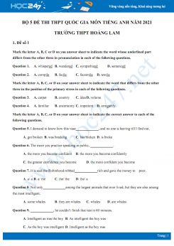 Bộ 5 đề thi thử THPT QG năm 2021 môn Tiếng Anh Trường THPT Hoàng Lam