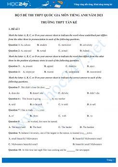 Bộ 5 đề thi thử THPT QG năm 2021 môn Tiếng Anh Trường THPT Tán Kế