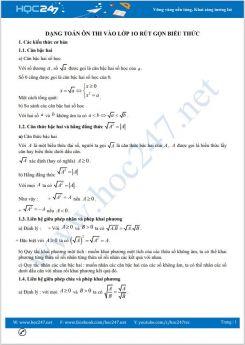 Dạng toán ôn thi vào lớp 10 Rút gọn biểu thức Toán 9