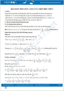 Chuyên đề Các bài toán tìm GTNN - GTLN của một biểu thức Toán 9