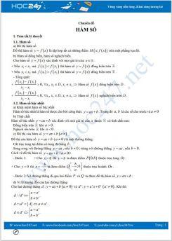 Ôn thi vào lớp 10 Chuyên đề hàm số