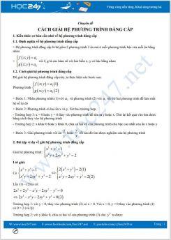 Chuyên đề Cách giải hệ phương trình đẳng cấp Toán 9