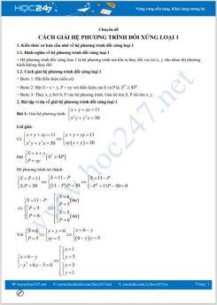 Chuyên đề Cách giải hệ phương trình đối xứng loại 1 Toán lớp 9