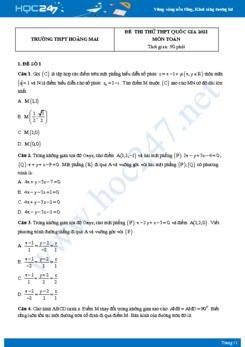 Bộ 4 đề thi thử THPT QG năm 2021 môn Toán - Trường THPT Hoàng Mai