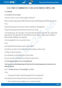 Cấu trúc In order to và So as to trong Tiếng Anh
