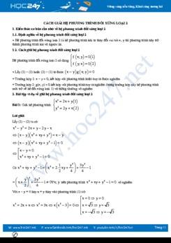 Cách giải hệ phương trình đối xứng loại 2 Toán 9
