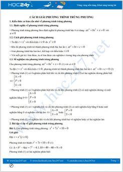 Cách giải phương trình trùng phương Toán 9