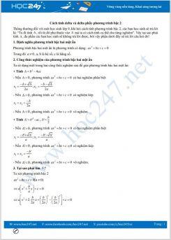 Cách tính delta và delta phẩy phương trình bậc 2 Toán 9