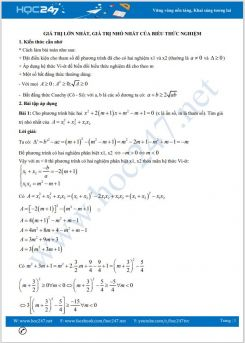 Chuyên đề tìm giá trị lớn nhất, giá trị nhỏ nhất của biểu thức nghiệm Toán 9