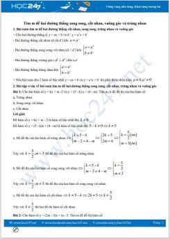 Chuyên đề tìm m để hai đường thẳng song song, cắt nhau, vuông góc và trùng nhau Toán 9